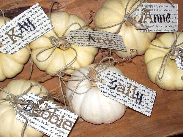 Thanksgiving table ideas.Ideas, Names Tags, Place Cards, Thanksgiving Table Setting, White Pumpkin, Places Cards Holders, Places Sets, Names Cards, Thanksgiving Tables Sets