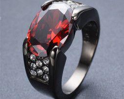 Luxusný dámsky prsteň zo zliatiny tmavého zlata s veľkým rubínom