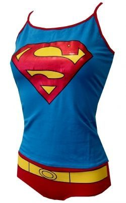 Superman underwear and tank