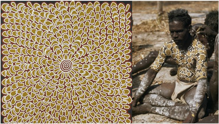 "Australian Aboriginal Artist: Mary Dixon Nungurrayi ""Body Paint Women's Ceremony  121x40cm 2004 Women have important religious status as well as men and they own tracts of land through their own Dreamings and operate parallel but interconnected religious lives with the men."