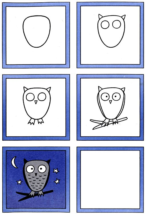 How to Draw an Owl Kids Drawing Lesson... make a few adjustments, and this could be a guided Paint project on the computer!