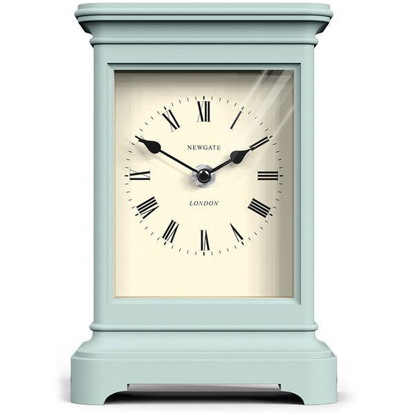 Newgate Clocks Library Clock - Mint Ice Cream found on Polyvore featuring home, home decor, clocks, furniture, green, newgate clocks, roman numeral clock, green clock, hand clock and newgate