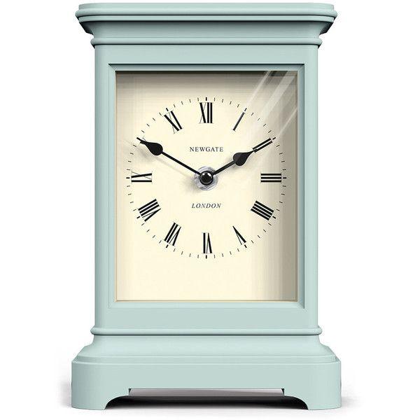 Newgate Clocks Library Clock - Mint Ice Cream found on Polyvore featuring home, home decor, clocks, furniture, green, newgate clocks, roman numeral clock, green clock, hand clock and newgate