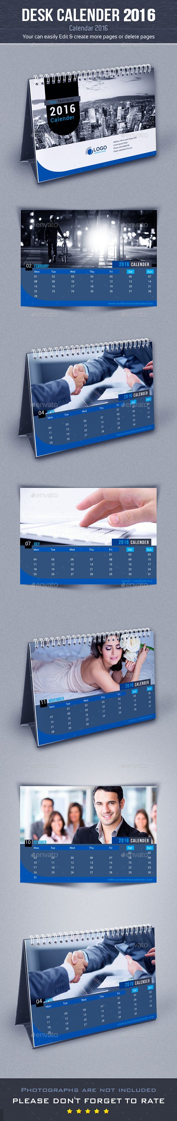 Desk Calendar 2016 Template InDesign INDD #design Download: http://graphicriver.net/item/desk-calendar-2016-/13433821?ref=ksioks