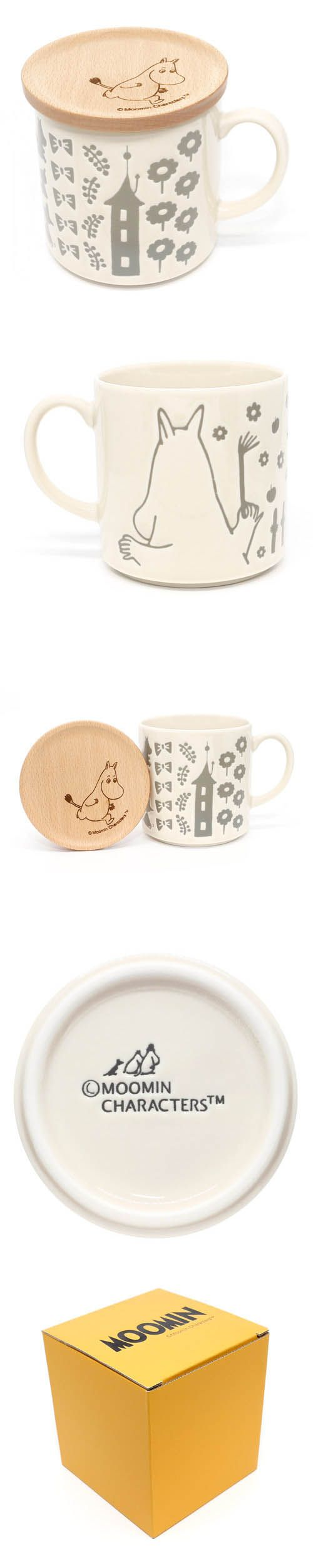 Muumi Moomin Valley white ceramic mug wooden lid box set by YamaKa KawaMono.com
