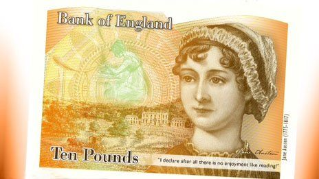 Author Jane Austen is to feature on the next £10 note, the Bank of England says, avoiding a long-term absence of women represented on banknotes.