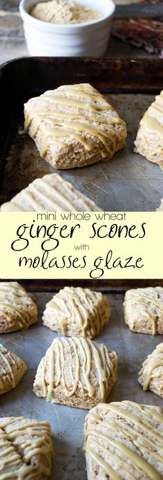 Mini whole wheat ginger spice scones, then topped with a molasses glaze.