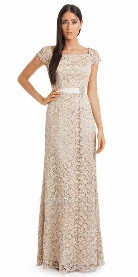 JS Collections JS Collection Lace Cap Sleeve Satin Waistband Evening Dresses on shopstyle.com