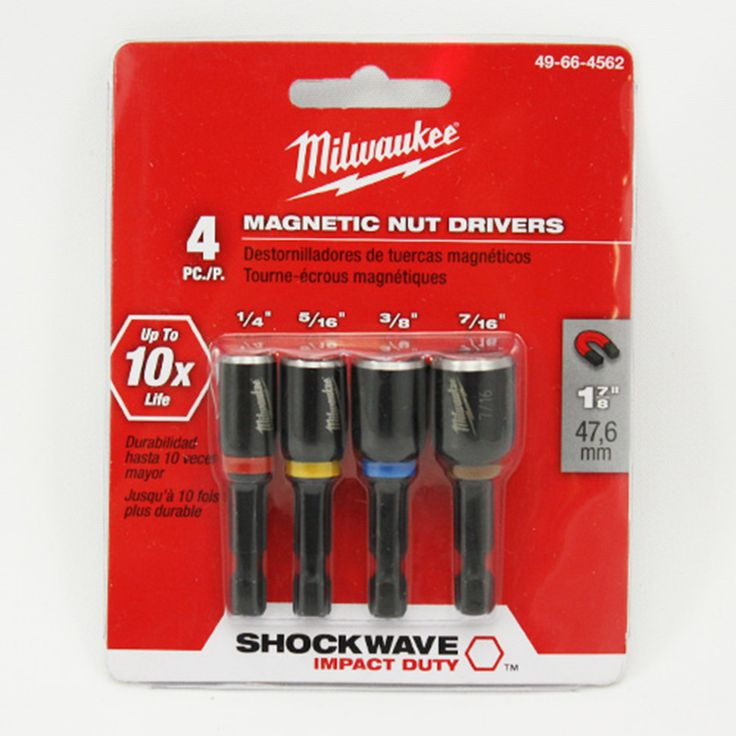 "49-66-4562 Milwaukee 1-7/8"" Magnetic Nutdriver Set 4 PC"