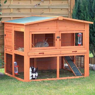 This two-story hutch with attic is perfect for groups of small animals. Pets can roam inside and outside, upstairs and downstairs, in the sun or in the shade while feeling safe and secure. Compatible