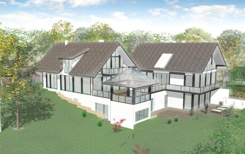 visualisierung anbau mehrfamilienhaus mit verbindungsbau an einfamilienhaus ammersee. Black Bedroom Furniture Sets. Home Design Ideas