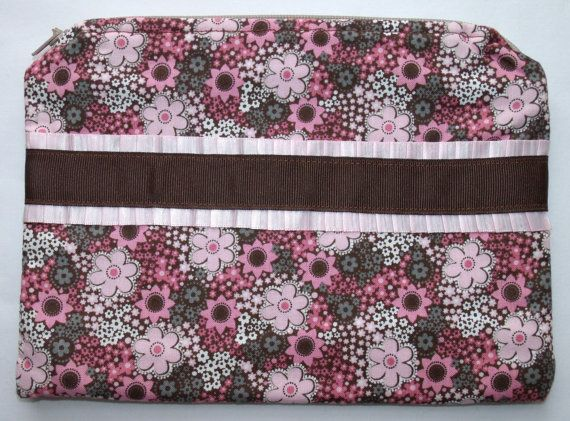 Pink & Brown Floral Makeup Bag by HighFalutinFarmgirls on Etsy, $12.00