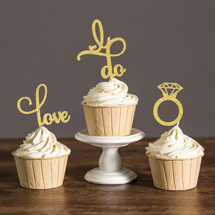 Marvelous Gold Silber oder Schwarz Glitter Engagement Cupcake Toppers Picks Braut Dusche Valentinstag Hochzeit