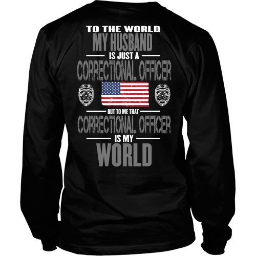 Love this design and want it on the front? Go here http://www.shoppzee.com/products/correctional-officer-husband View Sizing Chart