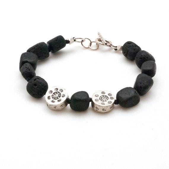 Lava Bracelet Black Lava Rock & Sterling Silver by SunSanJewelry