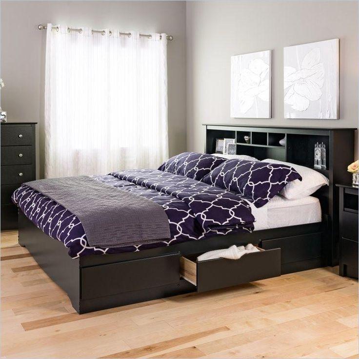 King Size Bookcase Headboard In Black Wood Finish $314.99  #decor #homefurnishings #furniture #homedecor #furnishings #home