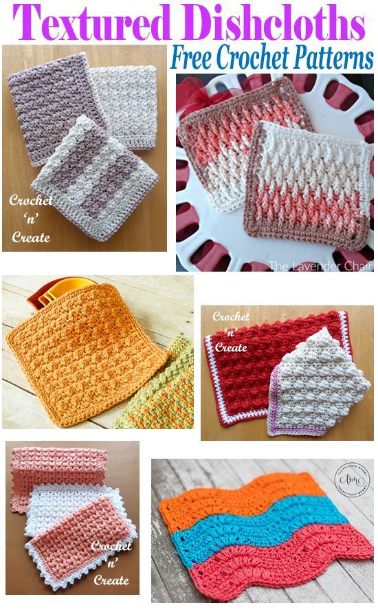 6 Free Crochet Patterns for textured dishcloths in a roundup, all for you to enj…