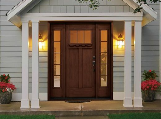 Handcrafted Stained Fiberglass Entry Doors with Sidelites
