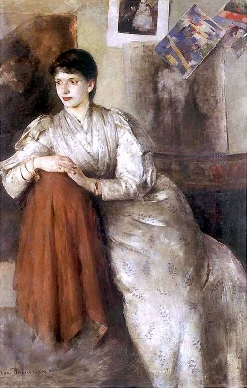 Olga Boznańska (1865 - 1940)  Portrait of a Woman in a White Dress (1890)