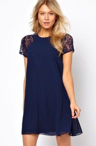 Vestido gasa combinado encaje manga corta-azul EUR€17.82