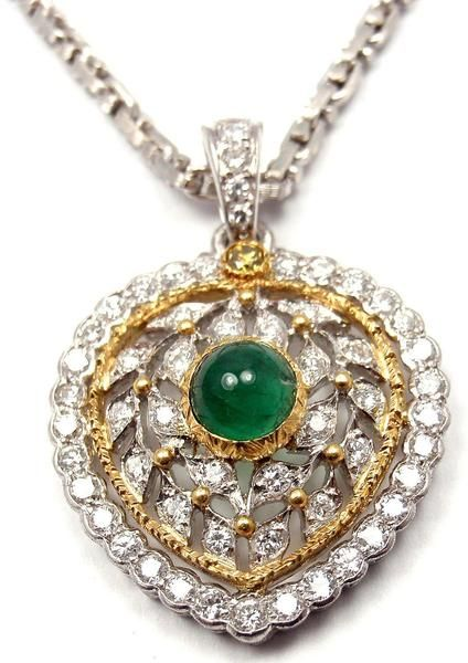 Authentic! Buccellati 18k White & Yellow Gold Diamond Emerald Heart Necklace