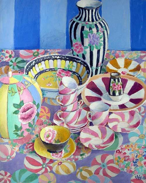 Swirling Stripes - painting by Kaffe Fassett
