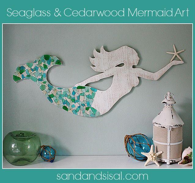 Seaglass and Cedar Mermaid Art