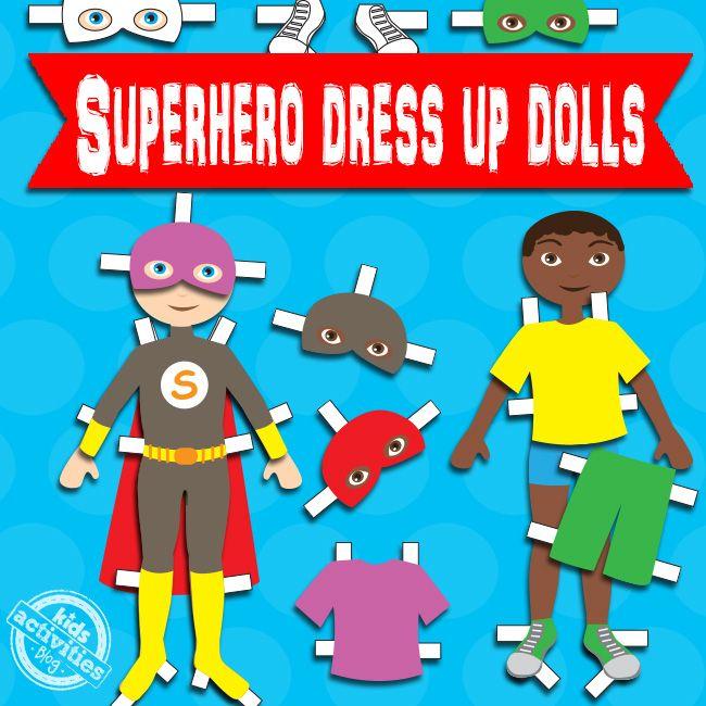 Superhero Boy Paper Dolls Free Printable