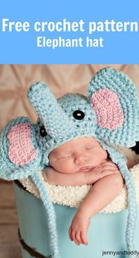 Free crochet elephant hat pattern for a baby.