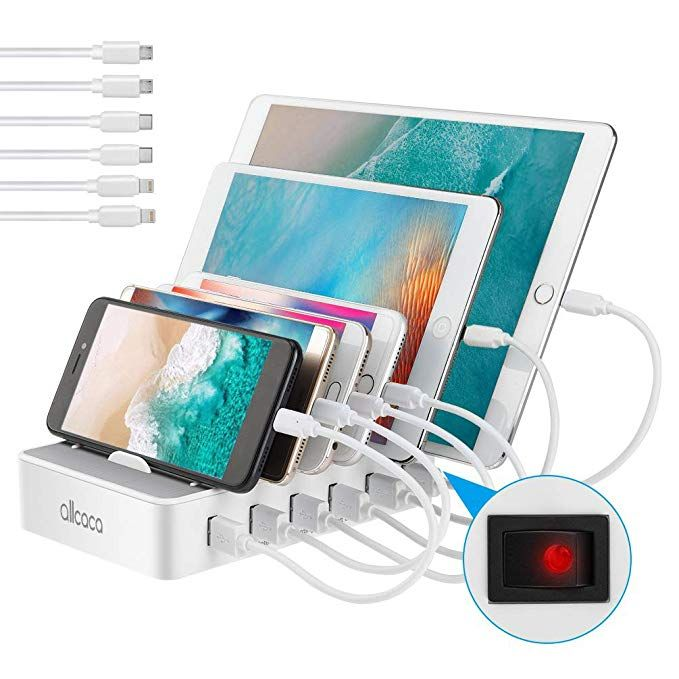 Allcaca Usb Charging Station For Multiple Devices Fast Charging Organizer With 6 Usb Ports Dock Cell Usb Charging Station Charging Station Cell Phone Charger