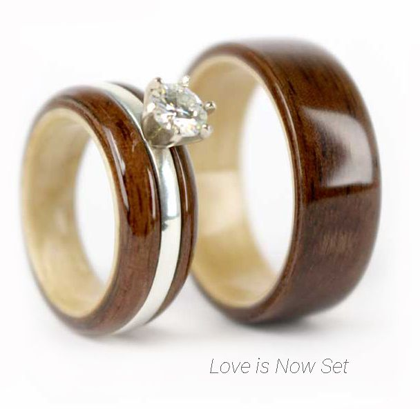 handcrafted walnut and maple wood ring set made from salvaged wood each wooden ring tells - Wooden Wedding Ring