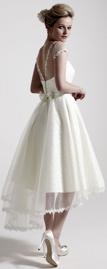 circular skirt, dipped-hem chiffon overlay... This is my favourite for the party after the wedding