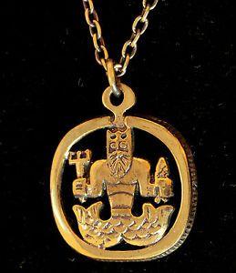 "Juhani Vuorisalmi for Turun Hopea, Vintage modernist ""Ahti"" (Finnish mythology God of the seas) bronze necklace. | eBay.co.uk #Finland"