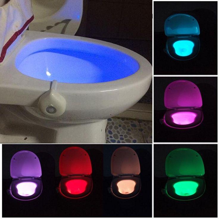 Motion Activated Toilet Night Light Bowl Bathroom LED 8 Color Lamp Sensor Lights Sale - Banggood.com