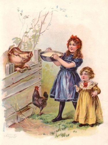 Sisters Feeding Pigs Antique 100 yr Old Color Print | eBay
