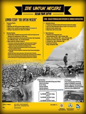 #LombaMenulis #LombaEssay #EGSA #UGM #Yogyakarta #IdeUntukNegeri EGSA Fair 2015 Lomba Essay Ide Untuk Negeri  DEADLINE: 10 Oktober 2015  http://infosayembara.com/info-lomba.php?judul=egsa-fair-2015-lomba-essay-ide-untuk-negeri