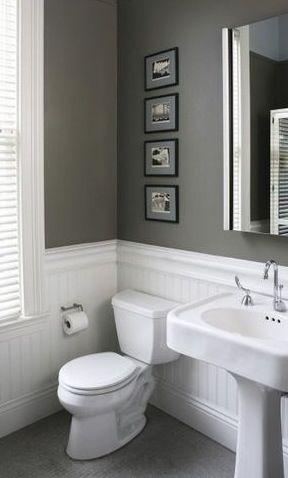 Killer bathroom color. - grey & white