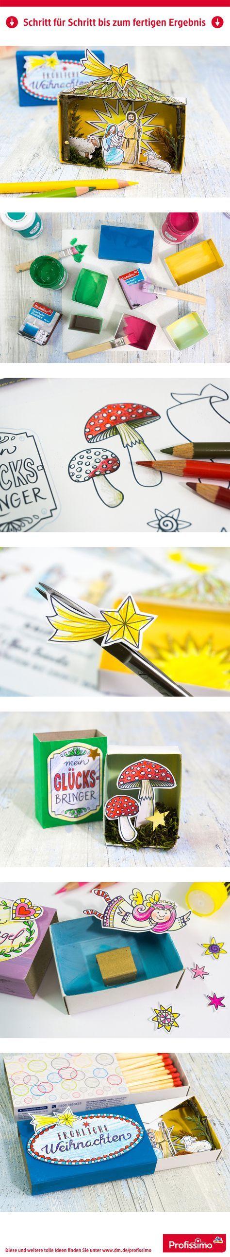 Hosentaschen-Krippe und kleine selbst gemachte Glücksbringer: Überraschung in der Zündholzschachtel // // Eine Schritt-für-Schritt Anleitung finden Sie auf dm.de/profissimo-kreativ // #ProfissimoKreativ #basteln #Idee #Kreativ #DIY