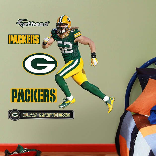 Fathead Green Bay Packers Clay Matthews Jr Decal - Wall Sticker Outlet