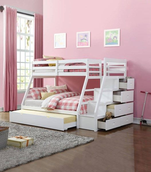 Acme Furniture Jason White Twin Over Full Trundle Bunk Bed Bunk