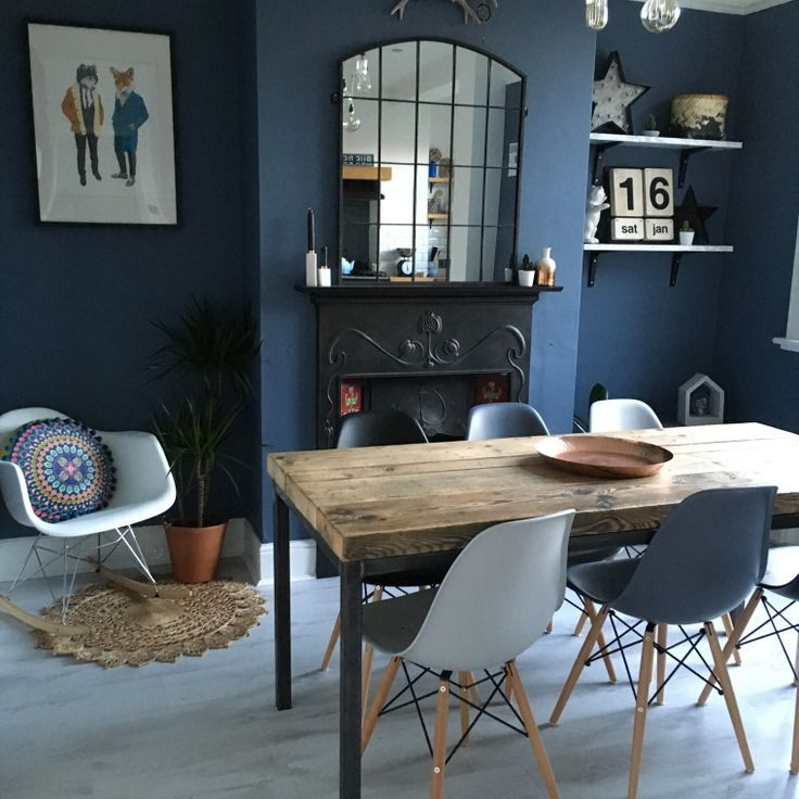 We Love This Statement Dining Room Wall In Deep Blue Little Greene Paint Company Juniper Ash