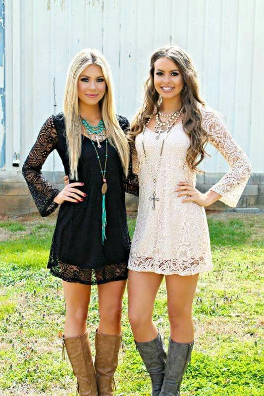 Lace dress with boots, black or white