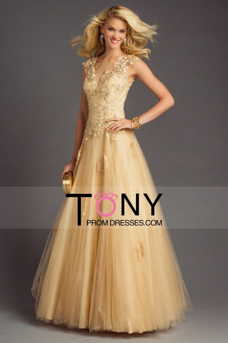 2015 Scoop A-Line Prom Dresses Tulle With Applique And Beads Floor-Length