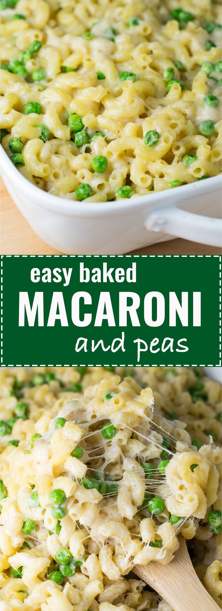 Easy baked macaroni and peas recipe - ready in less than 30 minutes! #macandcheese #macandpeas #dinner