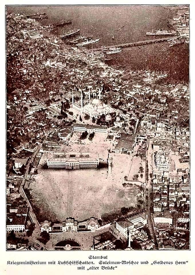 1916 Alman arşivi Zeppelin balonundan İstanbul kuşbakışı