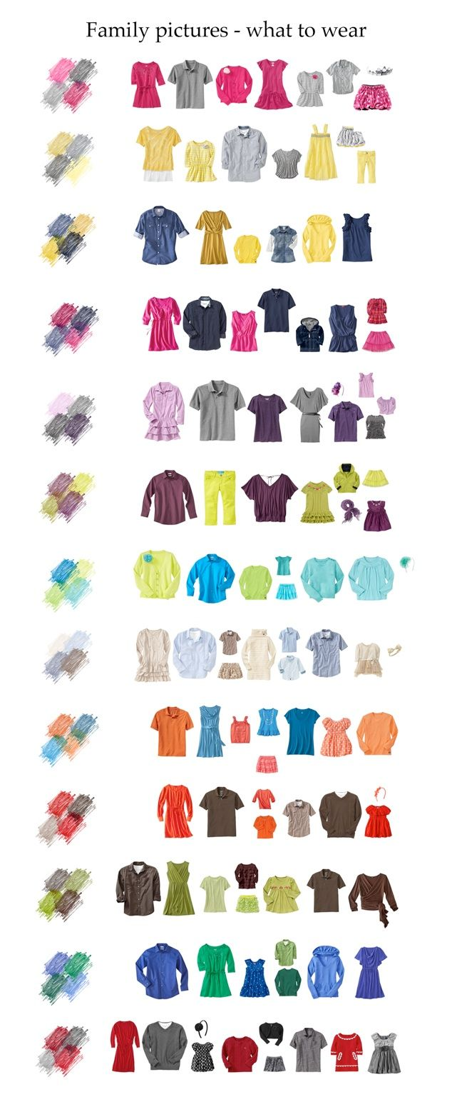 So handy! Use this cheat sheet as a guide for the best color combos to wear in family photos.