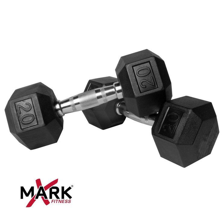 XMark Pair of 20 lb. Rubber Hex Dumbbells