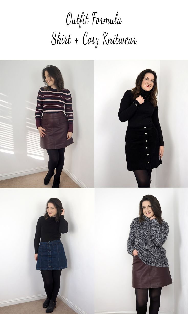 Simple autumn outfit formula of skirt + knitwear, add boots and your good to go. Easy fall uniform from pieces you already have in your wardrobe, makes life easier when getting dressed in the morning