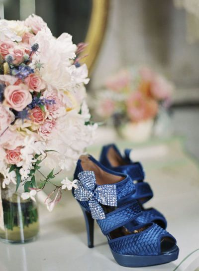 Blue Bridal Shoes for a Doctor Who wedding. Photographer: Caroline Tran Photographer
