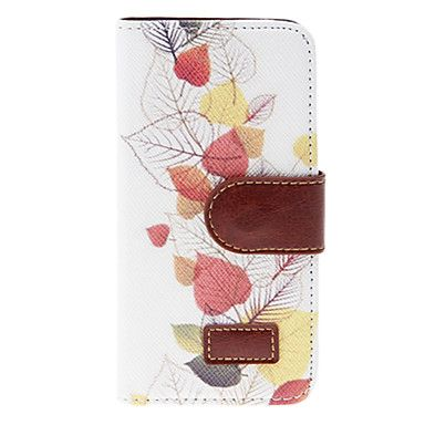 Colorful Leaves Pattern PU Full Body Case with Stand and Card Slot for iPhone 5/5S – EUR € 8.27